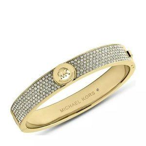 New Michael Kors Fulton Pave Gold Bangle Bracelet